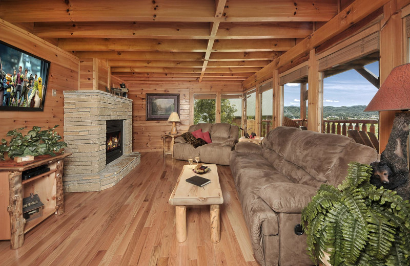 Cabin living room at Outrageous Cabins LLC.
