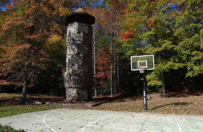 Rock climbing and basketball court at High Hampton Inn.