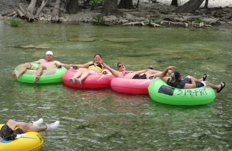 Tubing at Frio River Vacation Rentals.