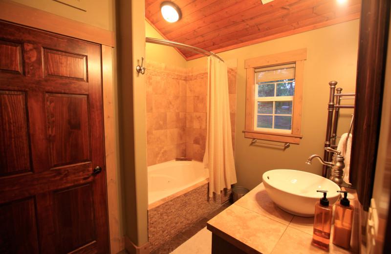 Cabin bathroom at Morrell Ranch.