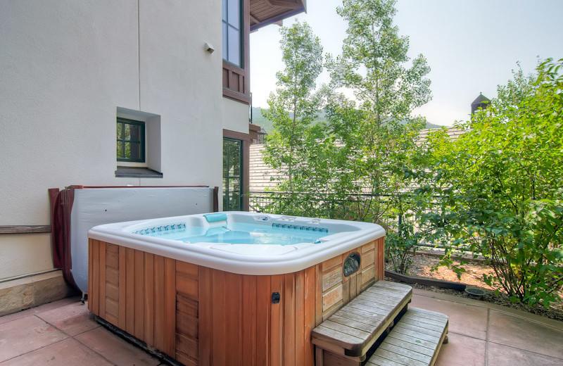 Rental hot tub at Beaver Creek Rentals by Owner.