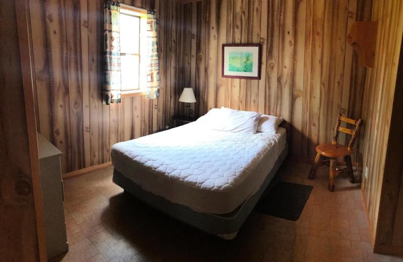 Cabin bedroom at Southview Cottages Resort.