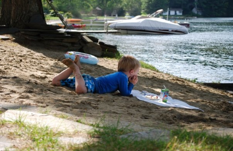 Relaxing by the lake at Lake Morey Resort.