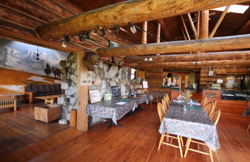 Dining room at Chaunigan Lake Lodge.