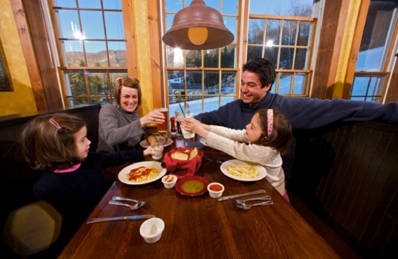 Family dining at Jiminy Peak Mountain Resort.