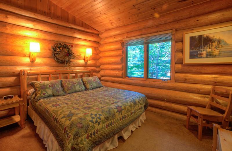 Cabin bedroom at Lutsen Resort on Lake Superior.