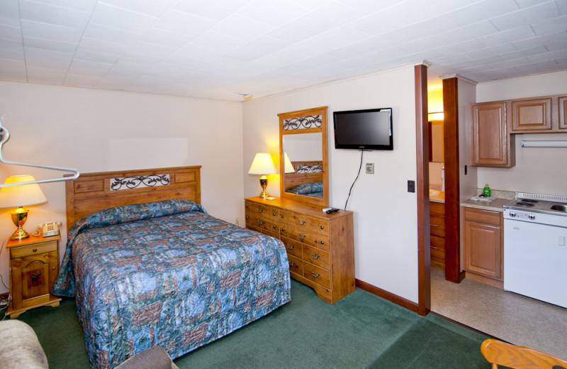 Motel room at Riverbank Motel & Cabins.