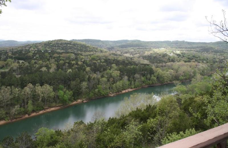 Deck view at Arkansas White River Cabins.