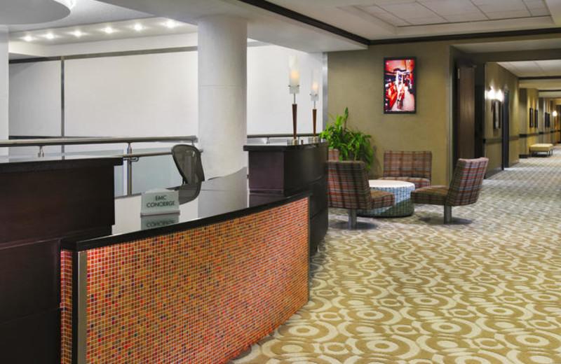 Front desk at Sheraton Miami Airport Hotel.