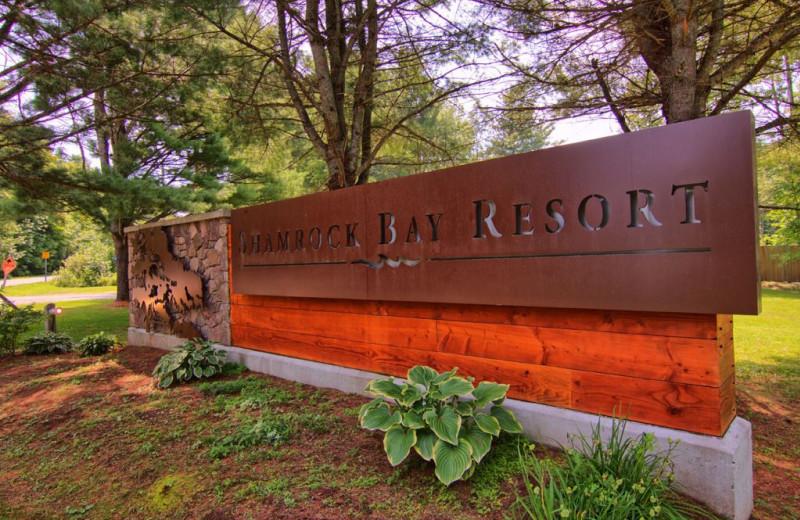 Welcome sign at Great Blue Resorts- Shamrock Bay Resort.