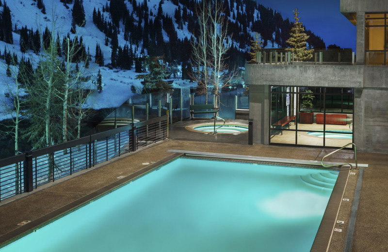 Outdoor pool at Alta's Rustler Lodge.