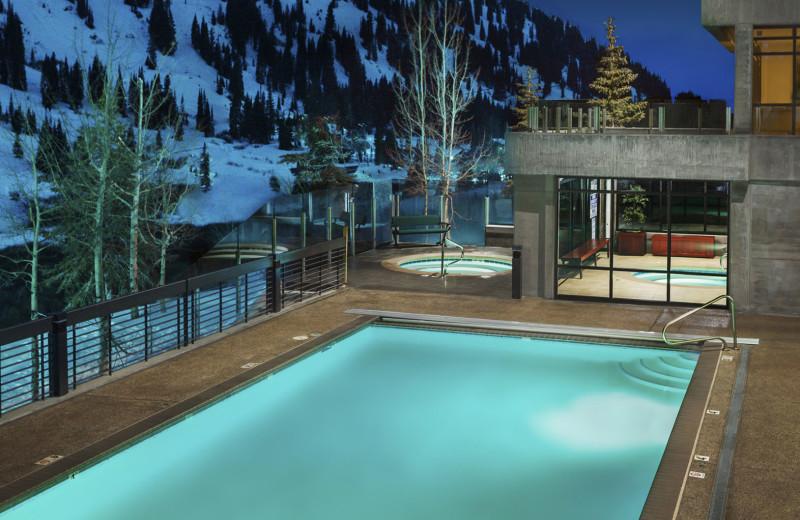 Outdoor pool at Alta's Rustler Lodge.