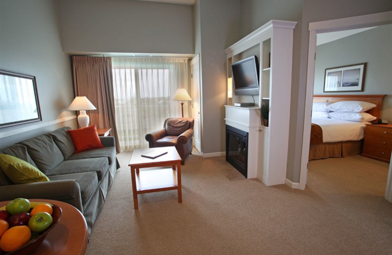 Guest room at Rivertide Suites Hotel.