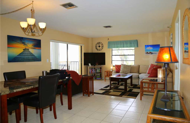 Rental living room at Surf Song Resort Condominiums.