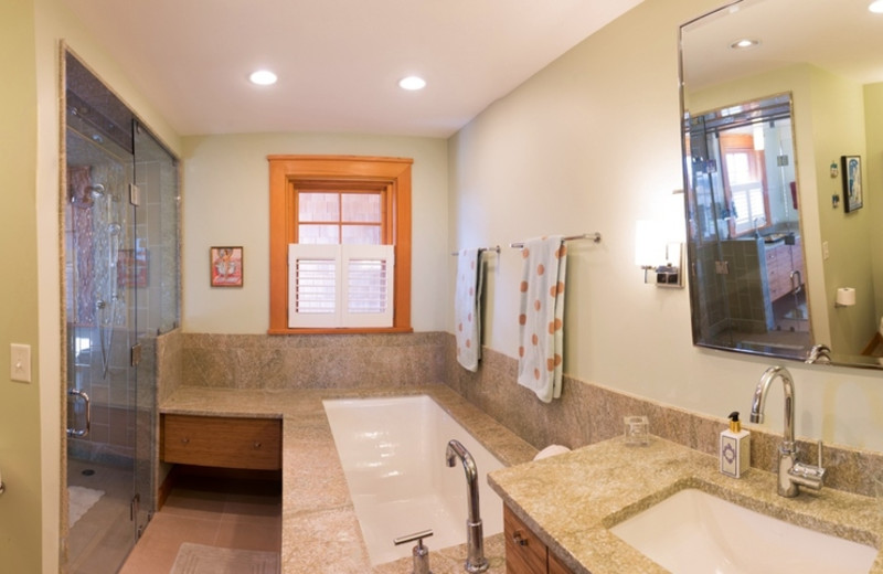 Rental bathroom at Re/Max on Island Vacation Rentals.