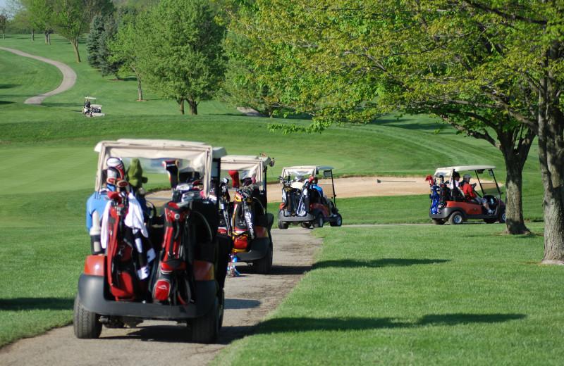 Golf carts at Heritage Hills Golf Resort.