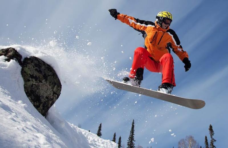 Snowboarding at The Mountain Inn.