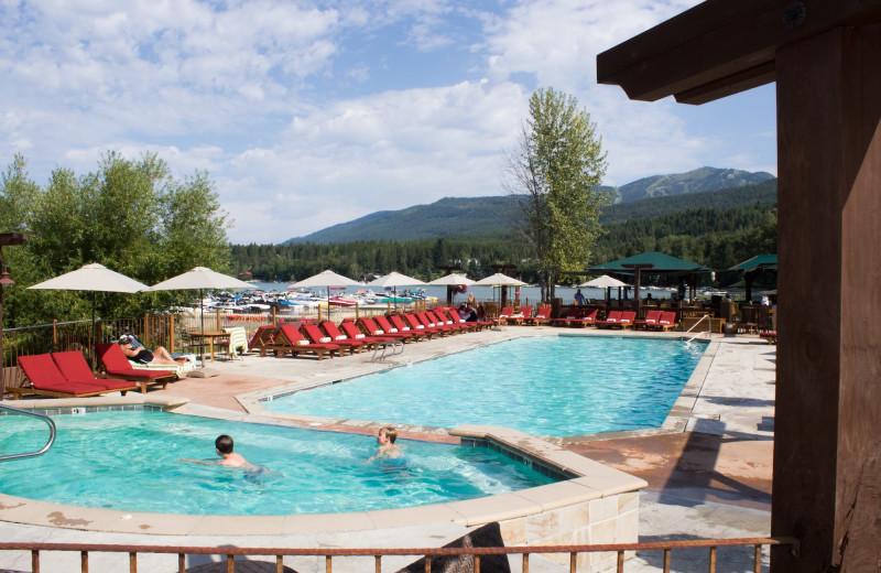 Outdoor pool at The Lodge at Whitefish Lake.