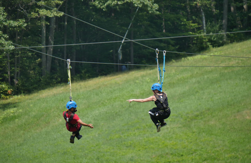 Zip line near Sunapee Harbor Cottages.