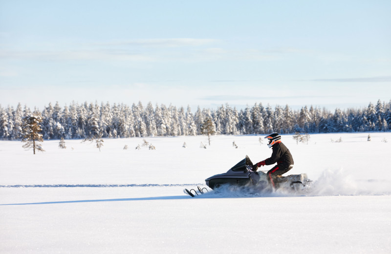 Snowmobile at Hanging Horn Lakeside Resort.