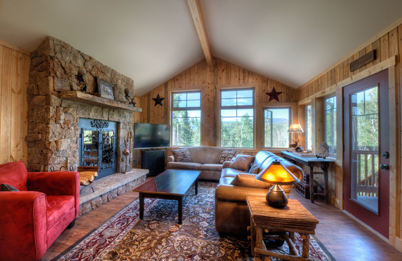 Cabin living room at Wild Skies Cabin Rentals.