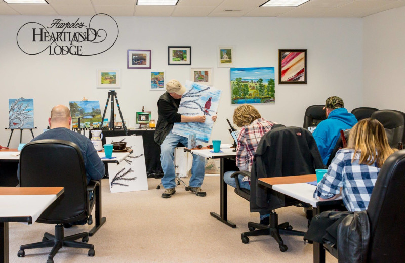 Painting class at Harpole's Heartland Lodge.