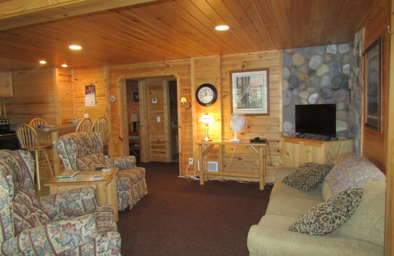 Cabin living room at Northwoods Vacation Rentals.