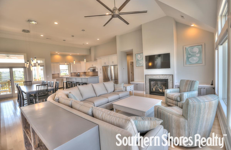 Rental living room at Southern Shores Realty.