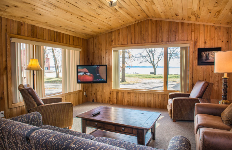 Cabin living room at Hiawatha Beach Resort.