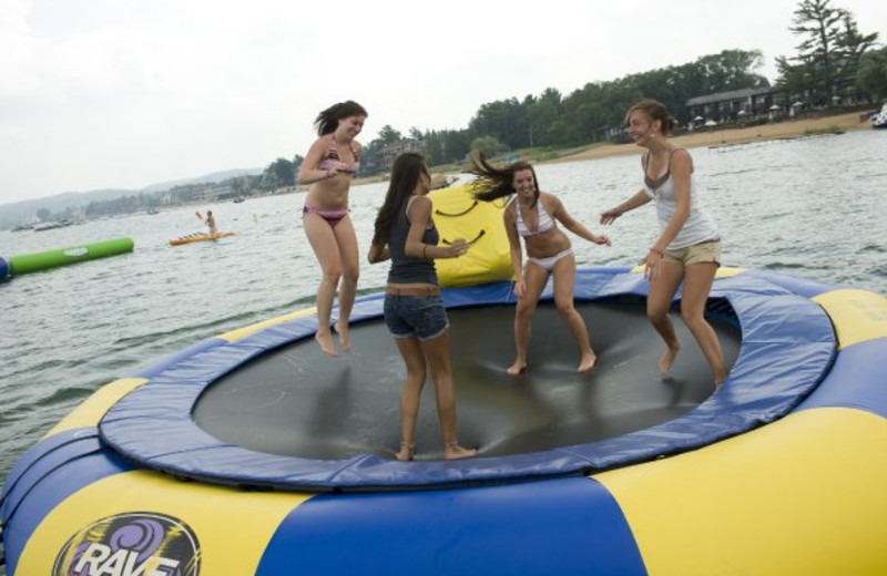 Water trampoline at ParkShore Resort.