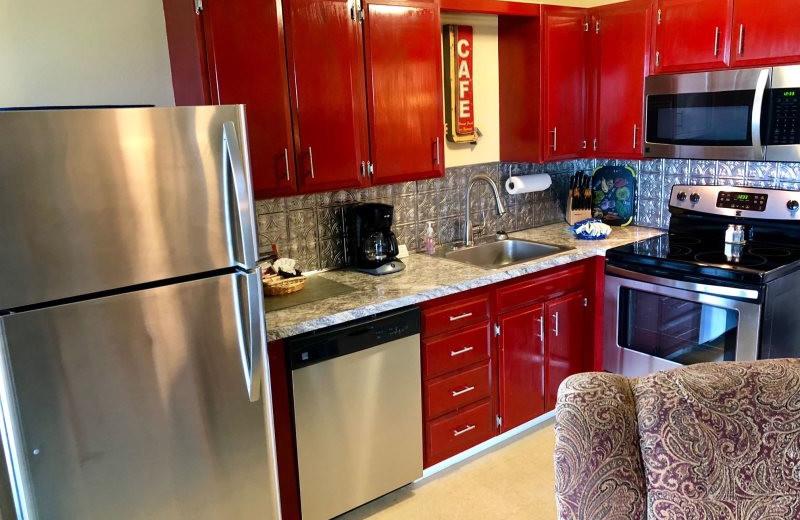 Guest kitchen at Hi-Tide Ocean Beach Resort.