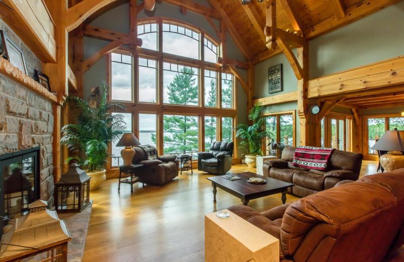 Rental living room at Muskoka District Rentals.