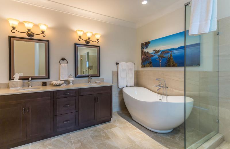Guest bathroom at SookePoint Ocean Cottage Resort.