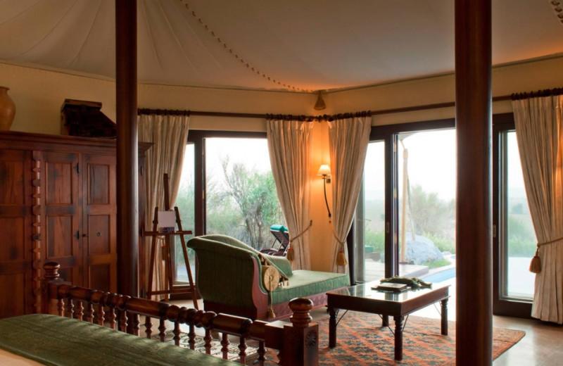 Guest room at Al Maha Desert Resort.