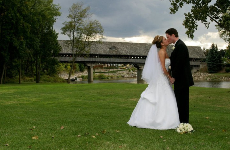 Wedding couple at Bavarian Inn of Frankenmuth.