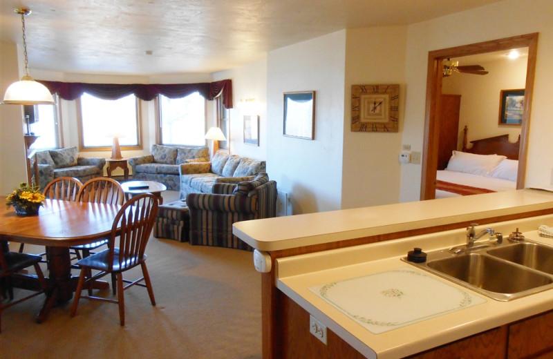 Guest room interior at Pheasant Park Resort.