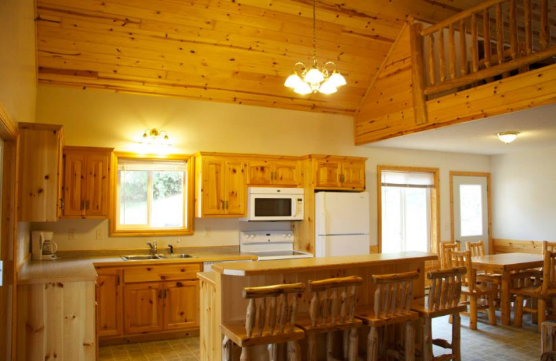 Cabin kitchen at Sunset Cove Resort.