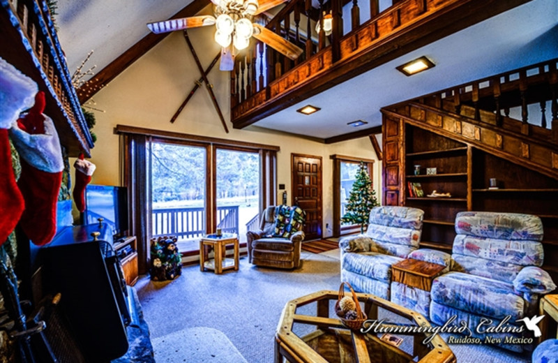 Living room at Hummingbird Cabins - Timberline Townhouse Vacation Rental
