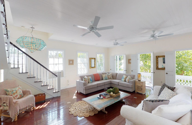 Rental living room at Preferred Properties Key West.