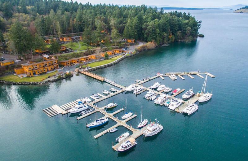Aerial view of Snug Harbor Marina Resort.