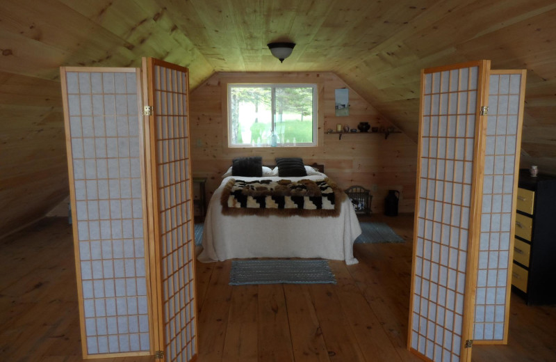 Cottage bedroom at Rossport Lodging & Retreat.
