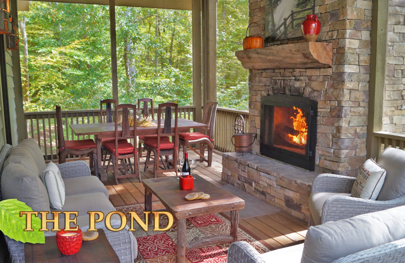 Screened Porch with outdoor fireplace - Luxury Cabin NC