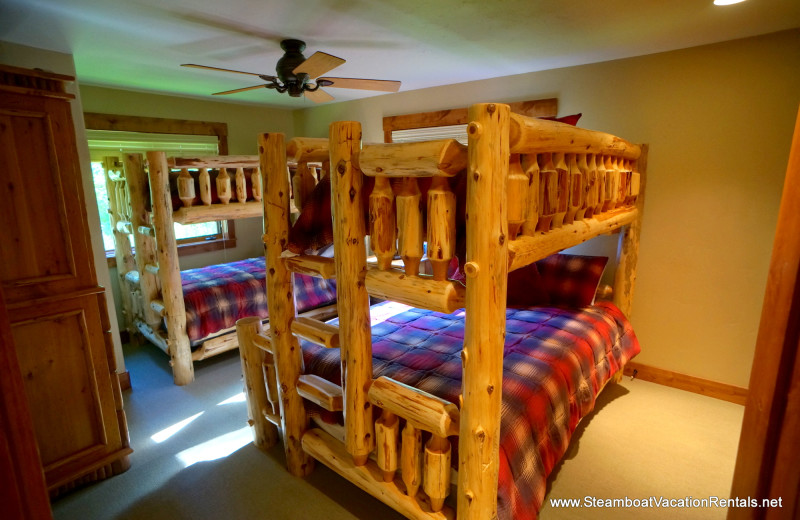 Rental bunk beds at Steamboat Vacation Rentals.