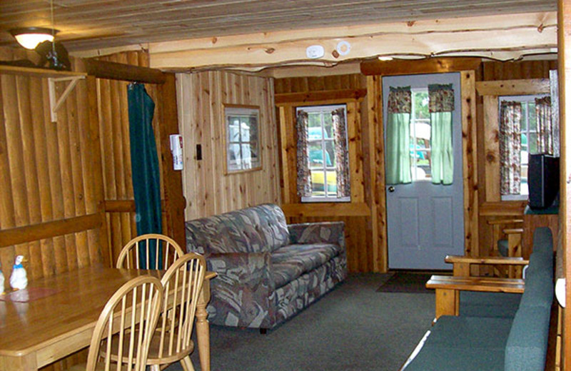 Cabin interior at Log Cabin Resort & Campground.