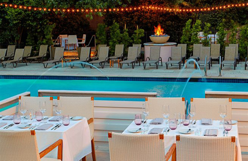 Outdoor pool and dining at The Fairmont Sonoma Mission Inn & Spa.