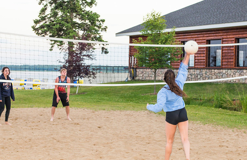 Volleyball court at Hiawatha Beach Resort.