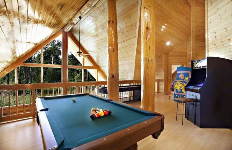 Vacation rental game room at Stony Brook Chalets.