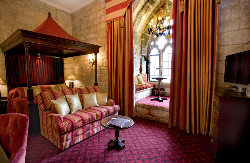Guest room at Langley Castle Hotel.