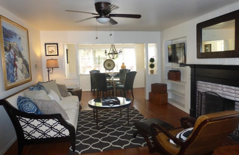 Cottage living room at Redwood Hollow Cottages.