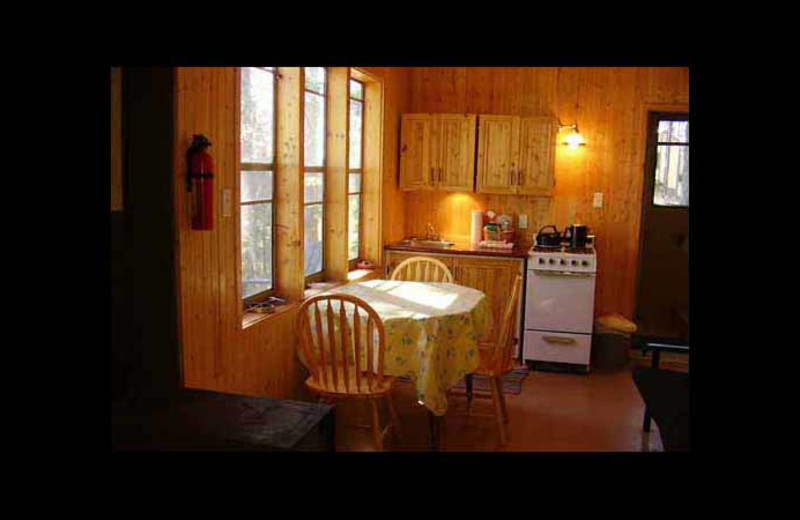 Cabin kitchen at Red Pine Wilderness Lodge.